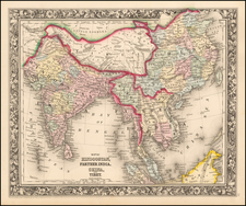 China, India, Southeast Asia and Central Asia & Caucasus Map By Samuel Augustus Mitchell Jr.
