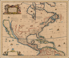 North America and California Map By Henricus Hondius / Jan Jansson