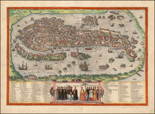 Italy and Venice Map By Georg Braun  &  Frans Hogenberg