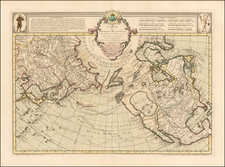 Alaska, North America, Canada, China, Japan, Pacific and Russia in Asia Map By Philippe Buache / Joseph Nicholas De  L'Isle