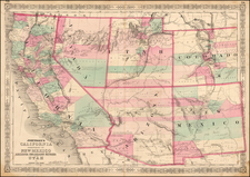 Southwest, Rocky Mountains and California Map By Benjamin P Ward  &  Alvin Jewett Johnson