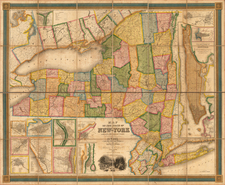 New York City and New York State Map By David Hugh Burr