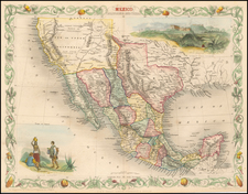 Texas, Southwest, Rocky Mountains, Mexico and California Map By John Tallis