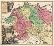 Germany and Austria Map By Johann Baptist Homann