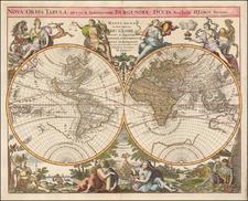 World and California as an Island Map By Reiner & Joshua Ottens / Alexis-Hubert Jaillot