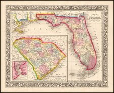 Florida Map By Samuel Augustus Mitchell Jr.