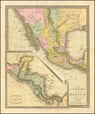 Texas, Southwest and California Map By David Hugh Burr