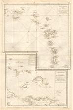 Caribbean and Bahamas Map By Depot de la Marine