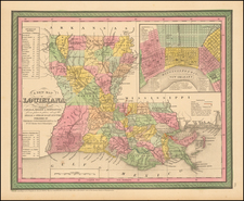 South, Louisiana and New Orleans Map By Thomas Cowperthwait & Co.