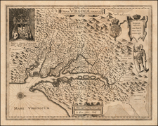 Mid-Atlantic and Southeast Map By Jodocus Hondius