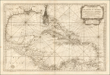 Florida, South, Texas and Caribbean Map By Depot de la Marine