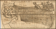 Pacific Ocean, Pacific, Australia and California as an Island Map By Jacques Nicolas Bellin