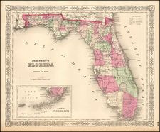 Florida Map By Benjamin P Ward  &  Alvin Jewett Johnson