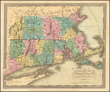 New England Map By David Hugh Burr
