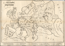 Europe and Curiosities Map By Yves & Barret