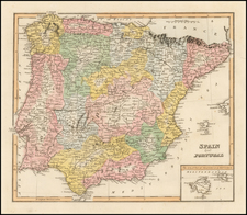 Spain, Portugal and Balearic Islands Map By Fielding Lucas Jr.