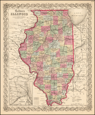 Midwest and Illinois Map By Joseph Hutchins Colton
