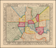 Plan of  Baltimore By Samuel Augustus Mitchell Jr.