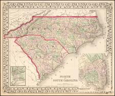 Southeast, North Carolina and South Carolina Map By Samuel Augustus Mitchell Jr.