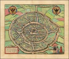 [Aachen] Aquisgranum, vulgo Aich, ad Menapiorum Fines, Perantiqua Imperii Urbs . . . MD LXXVI  By Georg Braun  &  Frans Hogenberg
