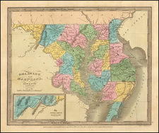 Maryland and Delaware Map By David Hugh Burr