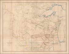 Midwest, Michigan, Minnesota, Wisconsin, Plains, Iowa, North Dakota and South Dakota Map By David Hugh Burr