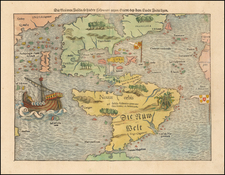 Western Hemisphere, Pacific Ocean, North America, South America, Japan and America Map By Sebastian Munster