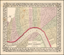 Plan of New Orleans By Samuel Augustus Mitchell Jr. / William Bradley