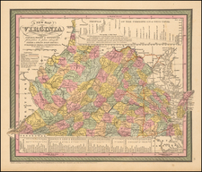 A New Map of Virginia with its Canals, Roads & Distances from place to place , along the Stage and Steam Boat Routes . . . By Thomas, Cowperthwait & Co.