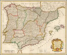 Spain and Portugal Map By Paul de Rapin de Thoyras / Nicholas Tindal