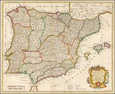 Spain and Portugal Map By Paul de Rapin de Thoyras / Nicholas Tindal