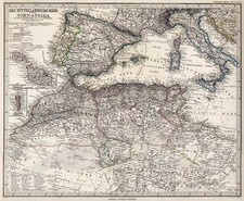 Europe, Mediterranean, Africa and North Africa Map By Adolf Stieler