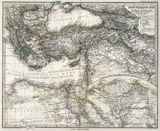Europe, Balkans, Asia, Central Asia & Caucasus, Middle East and Turkey & Asia Minor Map By Adolf Stieler