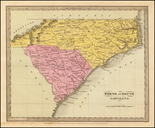 North Carolina and South Carolina Map By David Hugh Burr