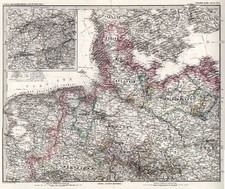 Europe, Netherlands and Germany Map By Adolf Stieler