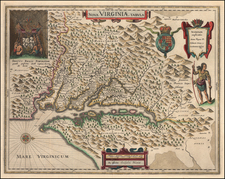 Mid-Atlantic and Southeast Map By Willem Janszoon Blaeu