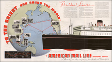 Pacific Ocean, China and Southeast Asia Map By American Mail Line