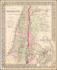 Holy Land Map By Samuel Augustus Mitchell Jr.