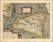 Southern Italy and European Islands Map By Abraham Ortelius