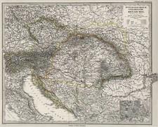 Europe, Austria, Hungary, Czech Republic & Slovakia and Balkans Map By Adolf Stieler