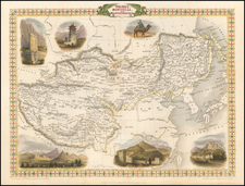 China, India, Central Asia & Caucasus and Russia in Asia Map By John Tallis