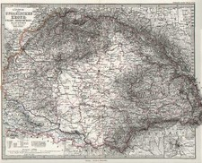 Europe and Hungary Map By Adolf Stieler