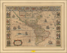 America Map By Willem Janszoon Blaeu