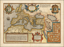 Europe, Italy, Mediterranean, Balearic Islands and Turkey & Asia Minor Map By Abraham Ortelius