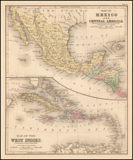 Mexico, Caribbean and Central America Map By Samuel Augustus Mitchell