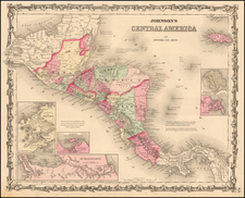 Central America Map By Benjamin P Ward  &  Alvin Jewett Johnson