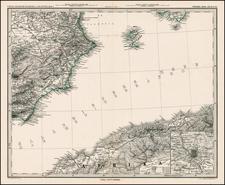 Europe, Spain, Mediterranean and Balearic Islands Map By Adolf Stieler