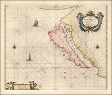 Baja California and California Map By Pieter Goos