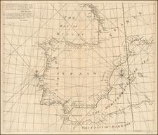 Spain and Portugal Map By John Senex / Edmund Halley / Nathaniel Cutler