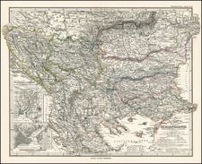 Europe and Balkans Map By Adolf Stieler